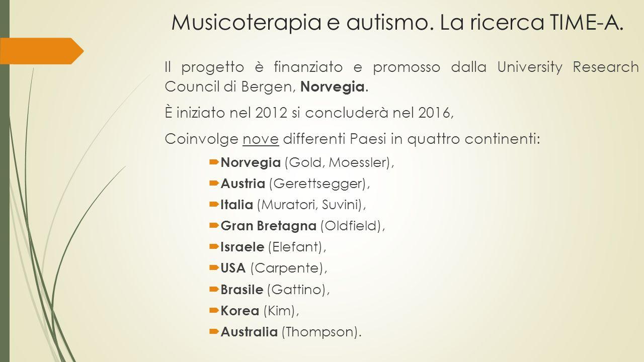 Musicoterapia e autismo. La ricerca TIME-A. Il progetto è finanziato e promosso dalla University Research Council di Bergen, Norvegia. È iniziato nel