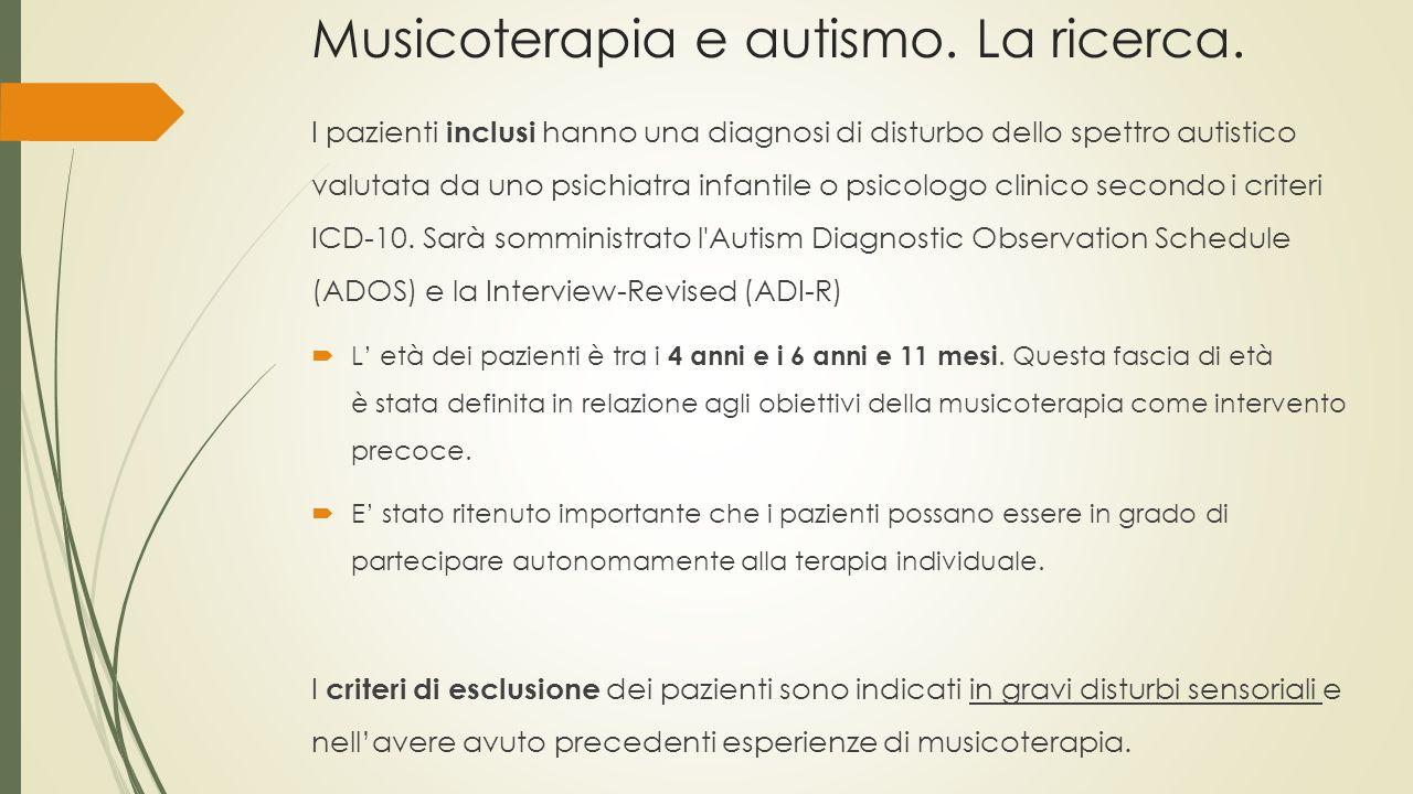 Musicoterapia e autismo. La ricerca. I pazienti inclusi hanno una diagnosi di disturbo dello spettro autistico valutata da uno psichiatra infantile o