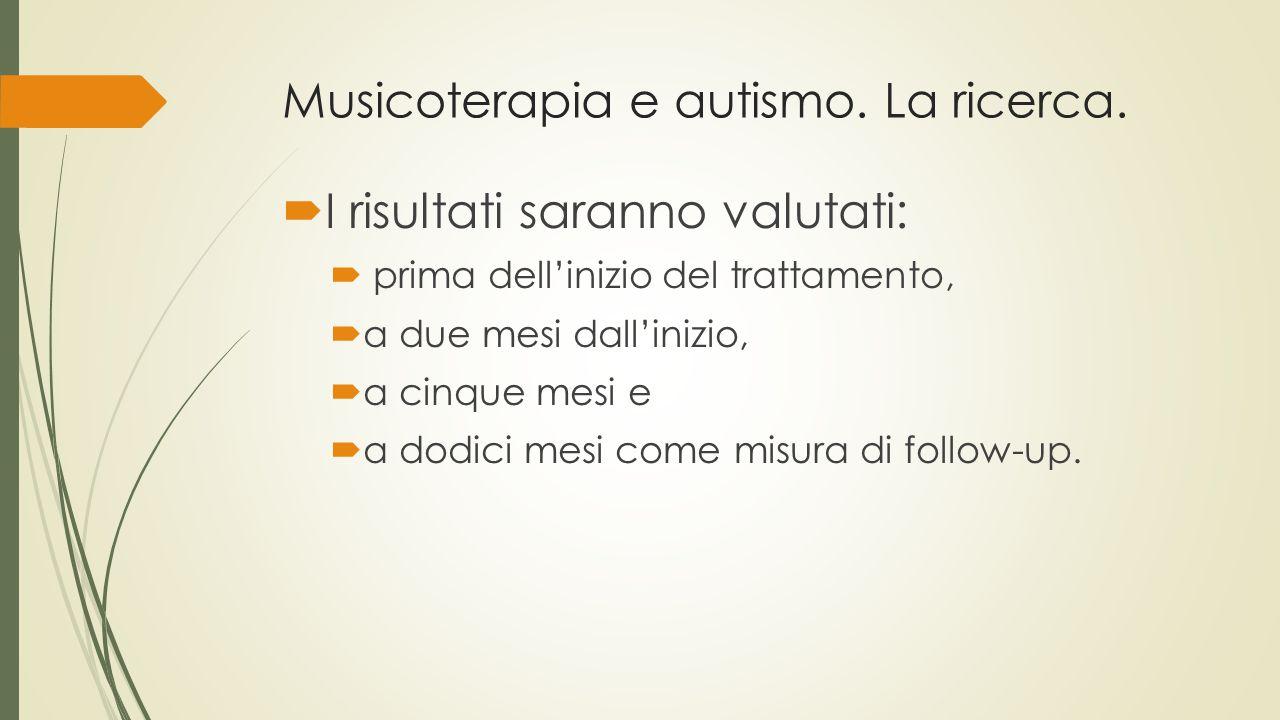 Musicoterapia e autismo. La ricerca.  I risultati saranno valutati:  prima dell'inizio del trattamento,  a due mesi dall'inizio,  a cinque mesi e