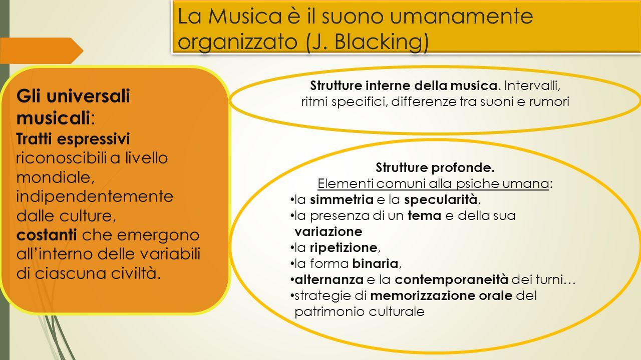 La Musica è il suono umanamente organizzato (J. Blacking) Gli universali musicali : Tratti espressivi riconoscibili a livello mondiale, indipendenteme