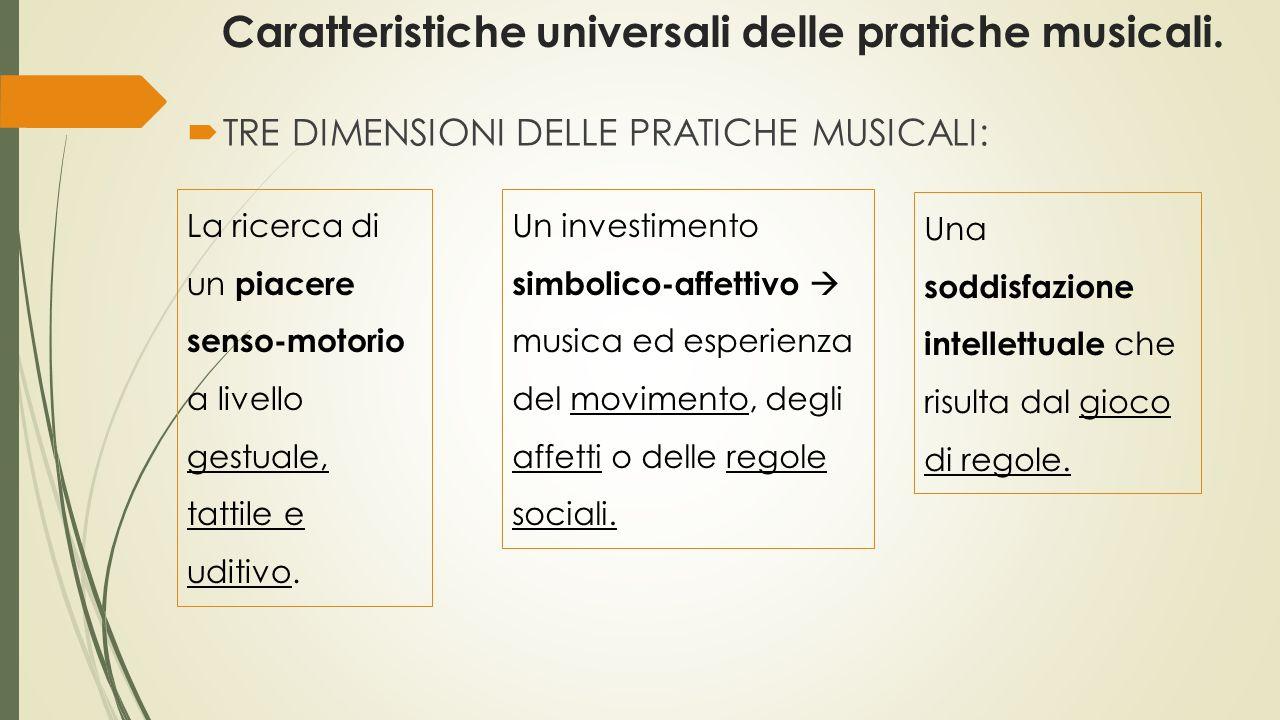 Caratteristiche universali delle pratiche musicali.  TRE DIMENSIONI DELLE PRATICHE MUSICALI: Un investimento simbolico-affettivo  musica ed esperien