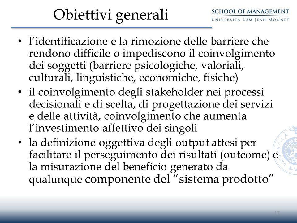 Obiettivi generali l'identificazione e la rimozione delle barriere che rendono difficile o impediscono il coinvolgimento dei soggetti (barriere psicol