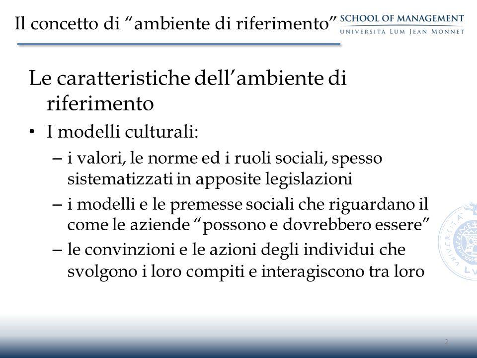 """Il concetto di """"ambiente di riferimento"""" Le caratteristiche dell'ambiente di riferimento I modelli culturali: – i valori, le norme ed i ruoli sociali,"""