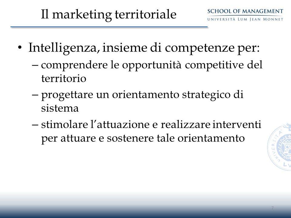Il marketing territoriale Intelligenza, insieme di competenze per: – comprendere le opportunità competitive del territorio – progettare un orientament