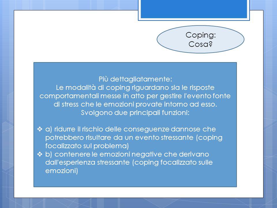 Coping: Cosa? Più dettagliatamente: Le modalità di coping riguardano sia le risposte comportamentali messe in atto per gestire l'evento fonte di stres