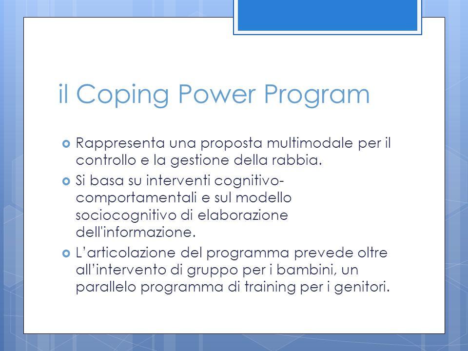 il Coping Power Program  Rappresenta una proposta multimodale per il controllo e la gestione della rabbia.  Si basa su interventi cognitivo- comport
