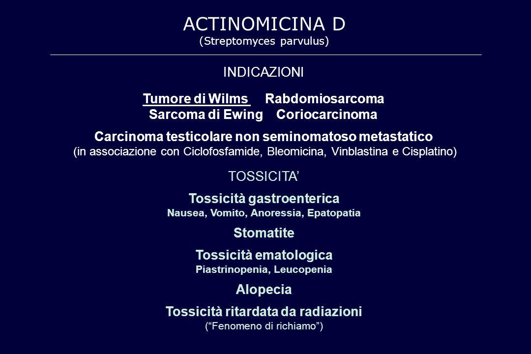 ACTINOMICINA D (Streptomyces parvulus) TOSSICITA' Tossicità gastroenterica Nausea, Vomito, Anoressia, Epatopatia Stomatite Tossicità ematologica Piast