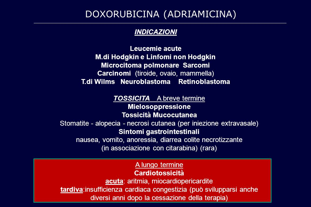 INDICAZIONI Leucemie acute M.di Hodgkin e Linfomi non Hodgkin Microcitoma polmonare Sarcomi Carcinomi (tiroide, ovaio, mammella) T.di Wilms Neuroblast