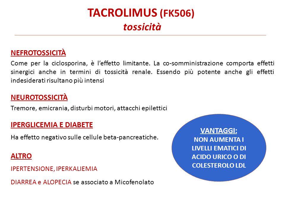 TACROLIMUS (FK506) tossicità Come per la ciclosporina, è l'effetto limitante.