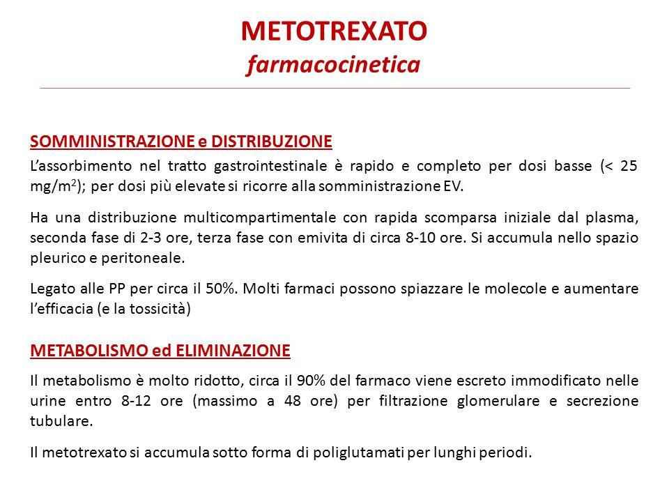 METOTREXATO farmacocinetica L'assorbimento nel tratto gastrointestinale è rapido e completo per dosi basse (< 25 mg/m 2 ); per dosi più elevate si ricorre alla somministrazione EV.