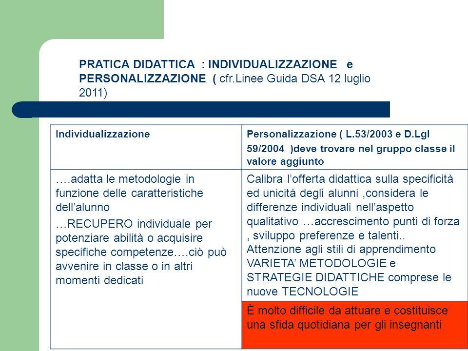 PRATICA DIDATTICA : INDIVIDUALIZZAZIONE e PERSONALIZZAZIONE ( cfr.Linee Guida DSA 12 luglio 2011) IndividualizzazionePersonalizzazione ( L.53/2003 e D