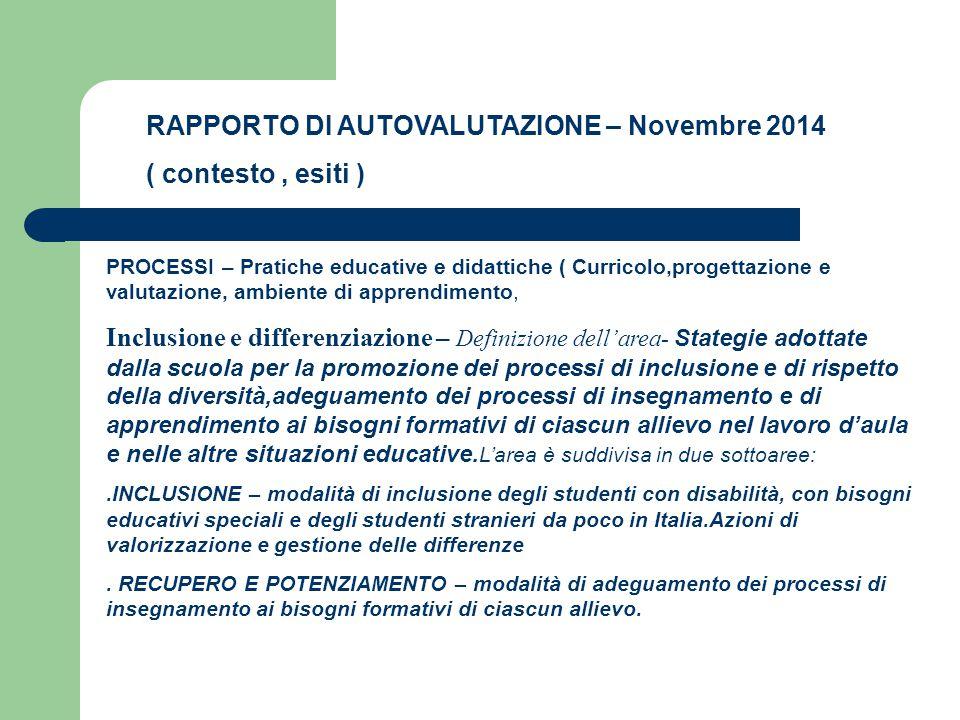 RAPPORTO DI AUTOVALUTAZIONE – Novembre 2014 ( contesto, esiti ) PROCESSI – Pratiche educative e didattiche ( Curricolo,progettazione e valutazione, am