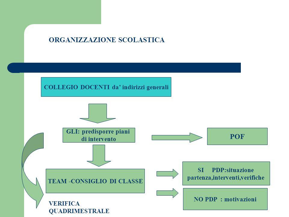 ORGANIZZAZIONE SCOLASTICA COLLEGIO DOCENTI da' indirizzi generali GLI: predisporre piani di intervento POF TEAM -CONSIGLIO DI CLASSE SI PDP:situazione