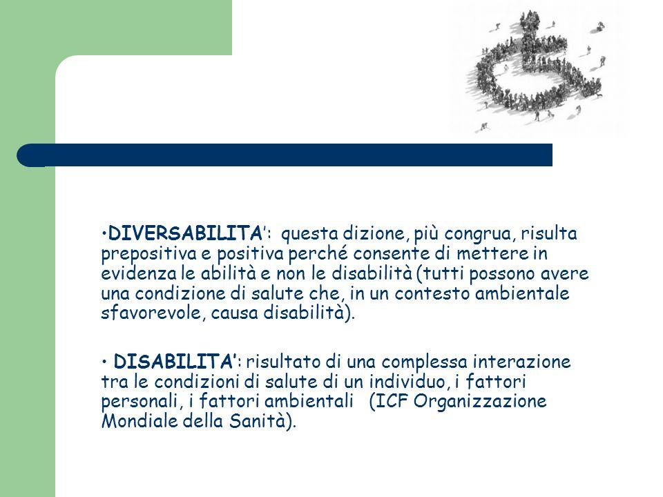 DIVERSABILITA': questa dizione, più congrua, risulta prepositiva e positiva perché consente di mettere in evidenza le abilità e non le disabilità (tut