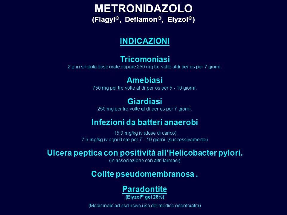 METRONIDAZOLO (Flagyl , Deflamon , Elyzol  ) INDICAZIONI Tricomoniasi 2 g in singola dose orale oppure 250 mg tre volte aldì per os per 7 giorni. A