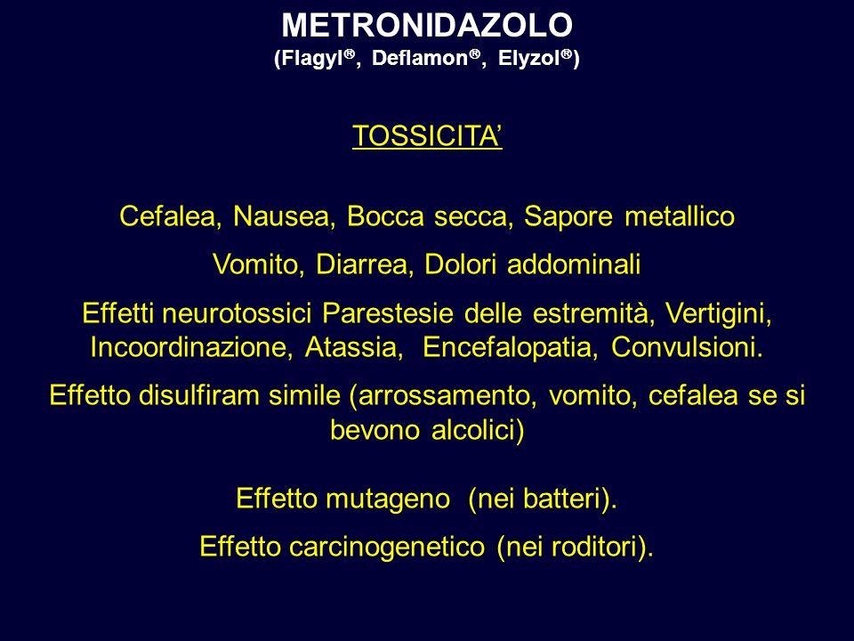 METRONIDAZOLO (Flagyl , Deflamon , Elyzol  ) TOSSICITA' Cefalea, Nausea, Bocca secca, Sapore metallico Vomito, Diarrea, Dolori addominali Effetti n