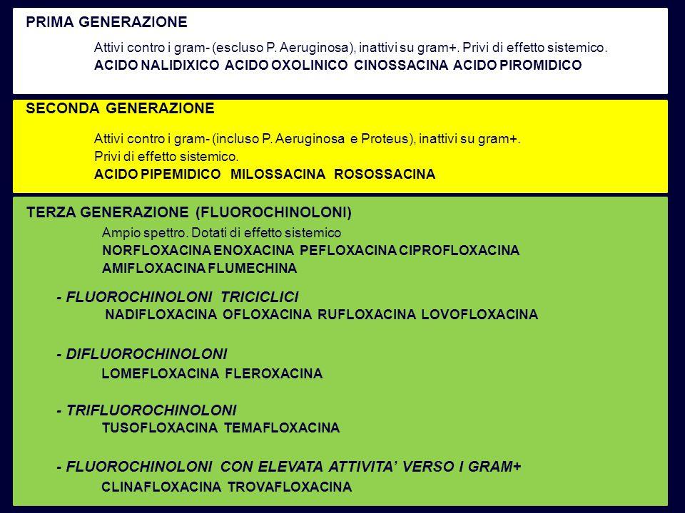 Attivi contro i gram- (escluso P. Aeruginosa), inattivi su gram+. Privi di effetto sistemico. ACIDO NALIDIXICO ACIDO OXOLINICO CINOSSACINA ACIDO PIROM