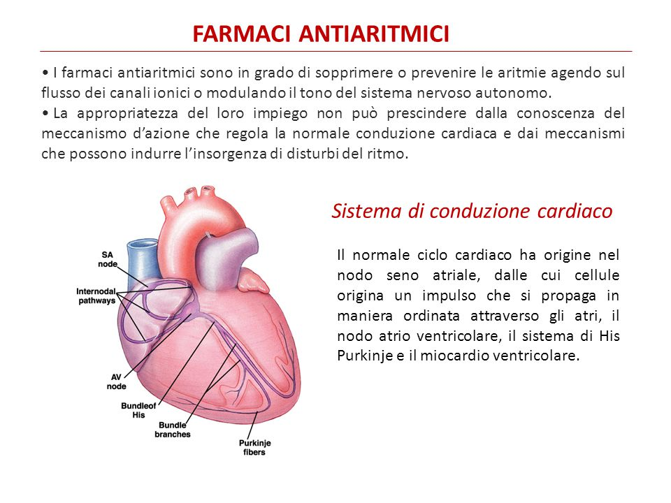 FARMACI ANTIARITMICI I farmaci antiaritmici sono in grado di sopprimere o prevenire le aritmie agendo sul flusso dei canali ionici o modulando il tono