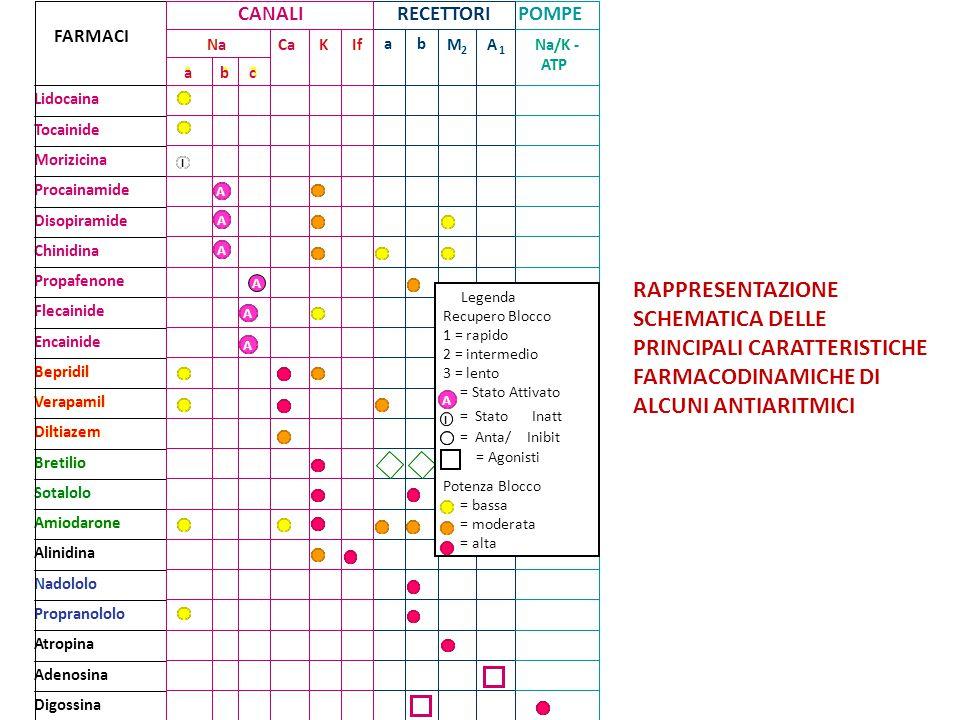 RAPPRESENTAZIONE SCHEMATICA DELLE PRINCIPALI CARATTERISTICHE FARMACODINAMICHE DI ALCUNI ANTIARITMICI Na/K- ATP A 1 M 2 ba IfKCaNa 321 Adenosina Nadolo