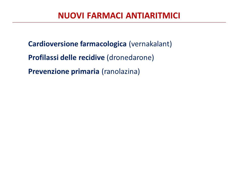 Cardioversione farmacologica (vernakalant) Profilassi delle recidive (dronedarone) Prevenzione primaria (ranolazina) NUOVI FARMACI ANTIARITMICI