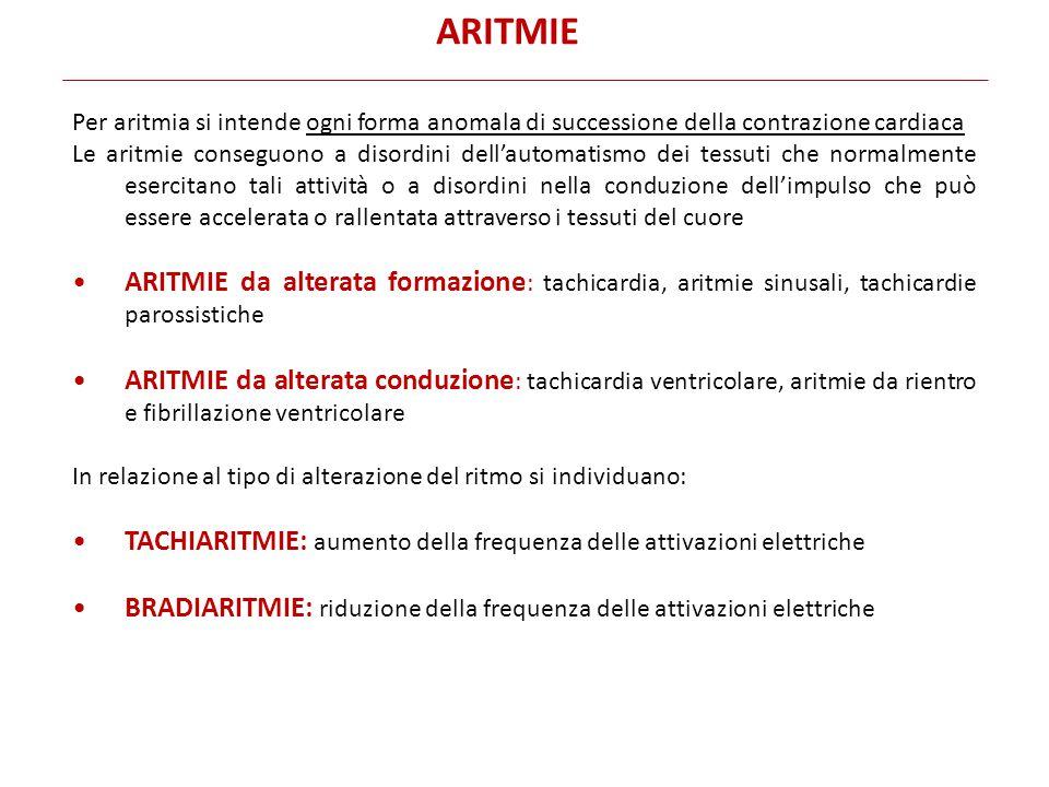 Per aritmia si intende ogni forma anomala di successione della contrazione cardiaca Le aritmie conseguono a disordini dell'automatismo dei tessuti che