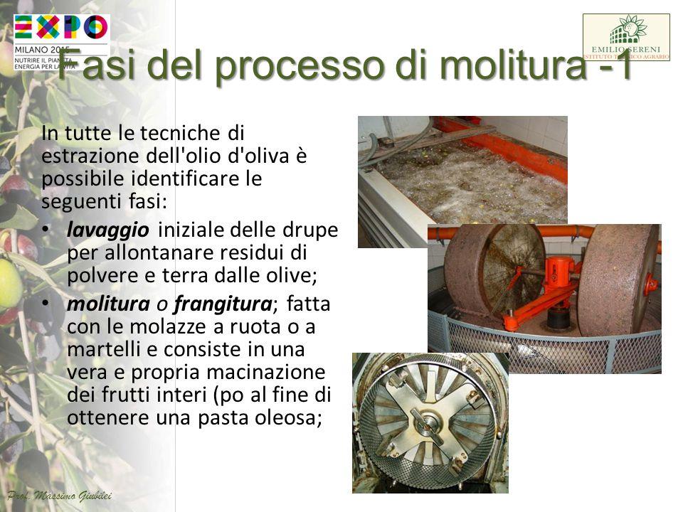 Fasi del processo di molitura -1 In tutte le tecniche di estrazione dell'olio d'oliva è possibile identificare le seguenti fasi: lavaggio iniziale del