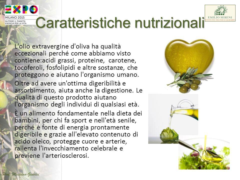 Caratteristiche nutrizionali L'olio extravergine d'oliva ha qualità eccezionali perché come abbiamo visto contiene:acidi grassi, proteine, carotene, t