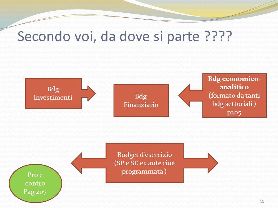 Secondo voi, da dove si parte ???? Bdg Investimenti Bdg Finanziario Bdg economico- analitico (formato da tanti bdg settoriali ) p205 Budget d'esercizi