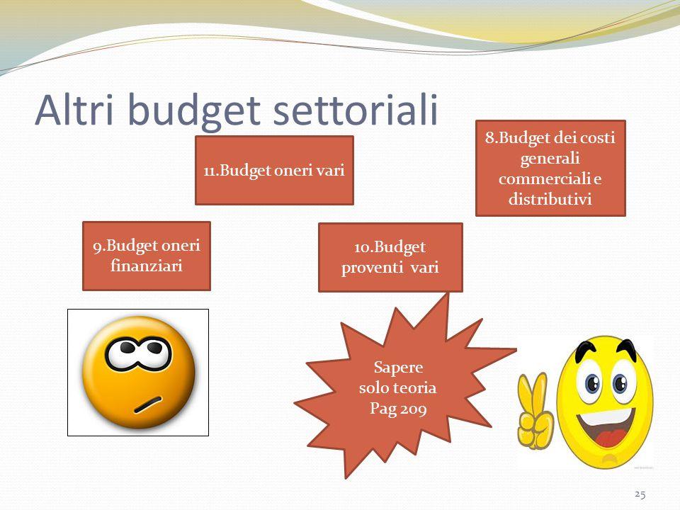 Altri budget settoriali 25 9.Budget oneri finanziari 10.Budget proventi vari Sapere solo teoria Pag 209 8.Budget dei costi generali commerciali e dist