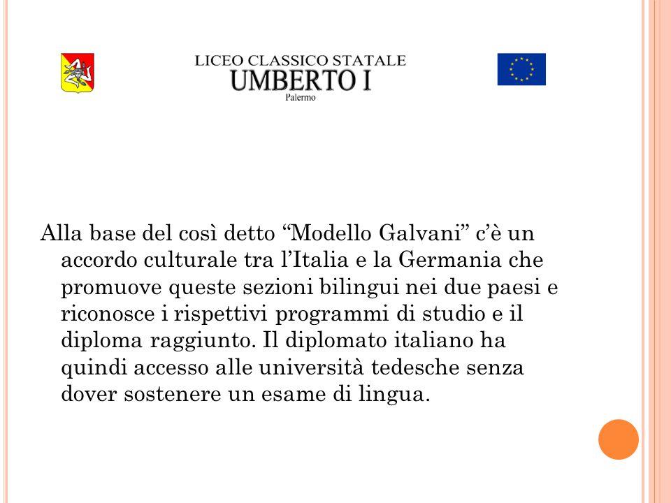 Alla base del così detto Modello Galvani c'è un accordo culturale tra l'Italia e la Germania che promuove queste sezioni bilingui nei due paesi e riconosce i rispettivi programmi di studio e il diploma raggiunto.