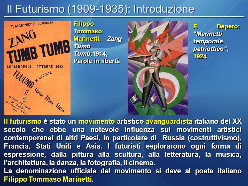 Il Futurismo (1909-1935): Introduzione Il futurismo è stato un movimento artistico avanguardista italiano del XX secolo che ebbe una notevole influenz