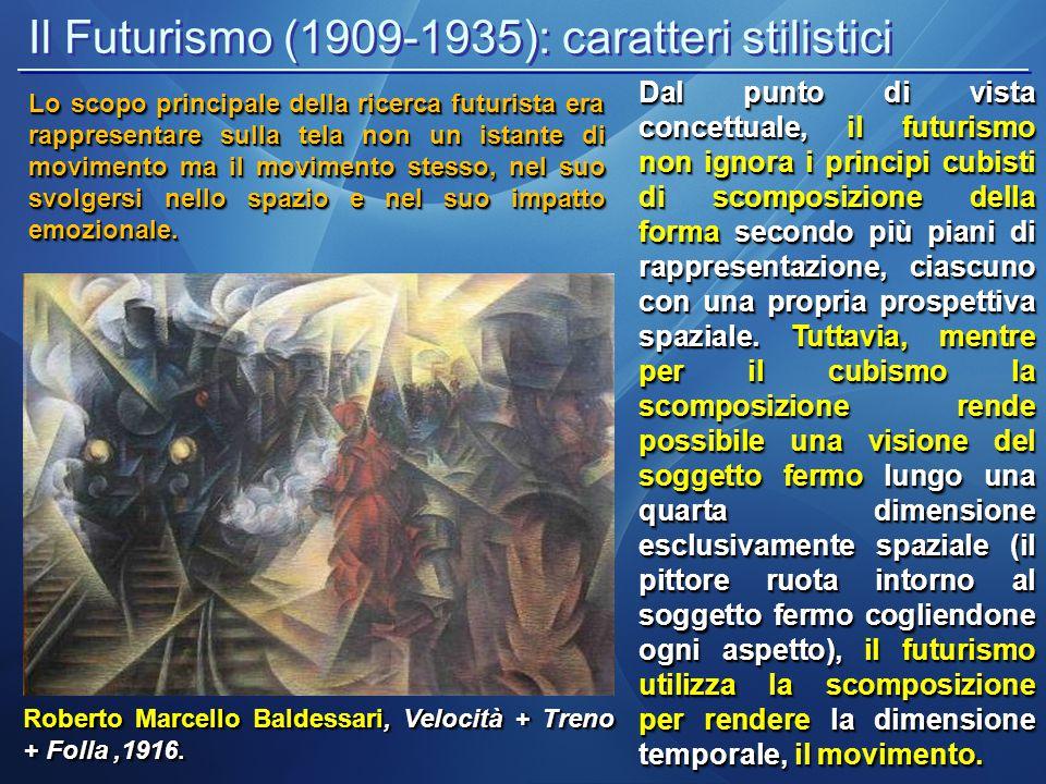 Il Futurismo (1909-1935): caratteri stilistici Roberto Marcello Baldessari, Velocità + Treno + Folla,1916. Dal punto di vista concettuale, il futurism