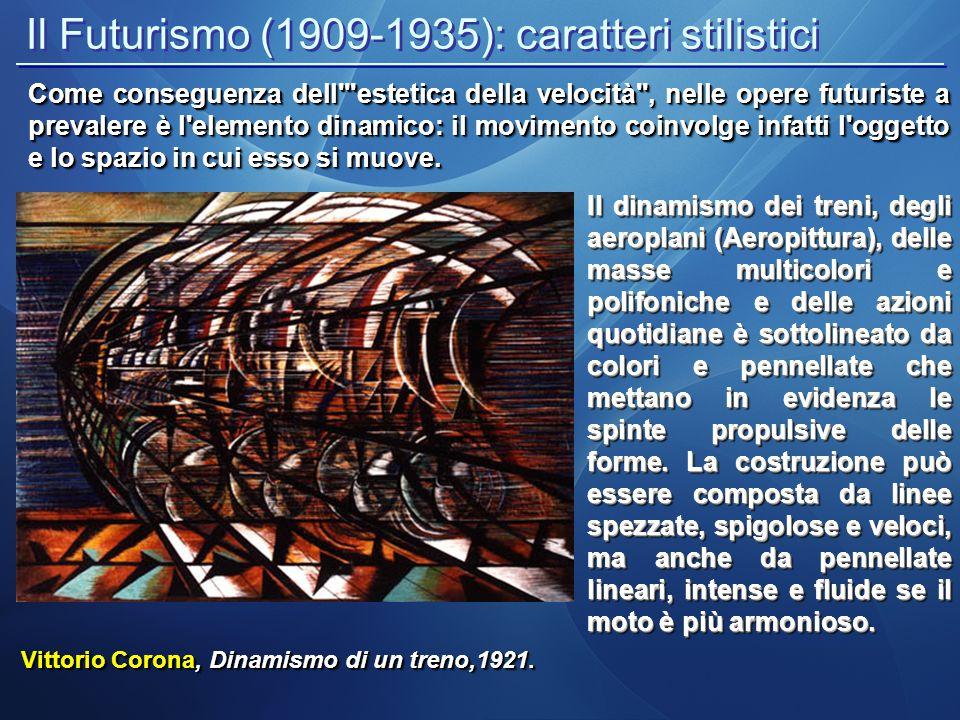 Il Futurismo (1909-1935): caratteri stilistici Vittorio Corona, Dinamismo di un treno,1921. Il dinamismo dei treni, degli aeroplani (Aeropittura), del