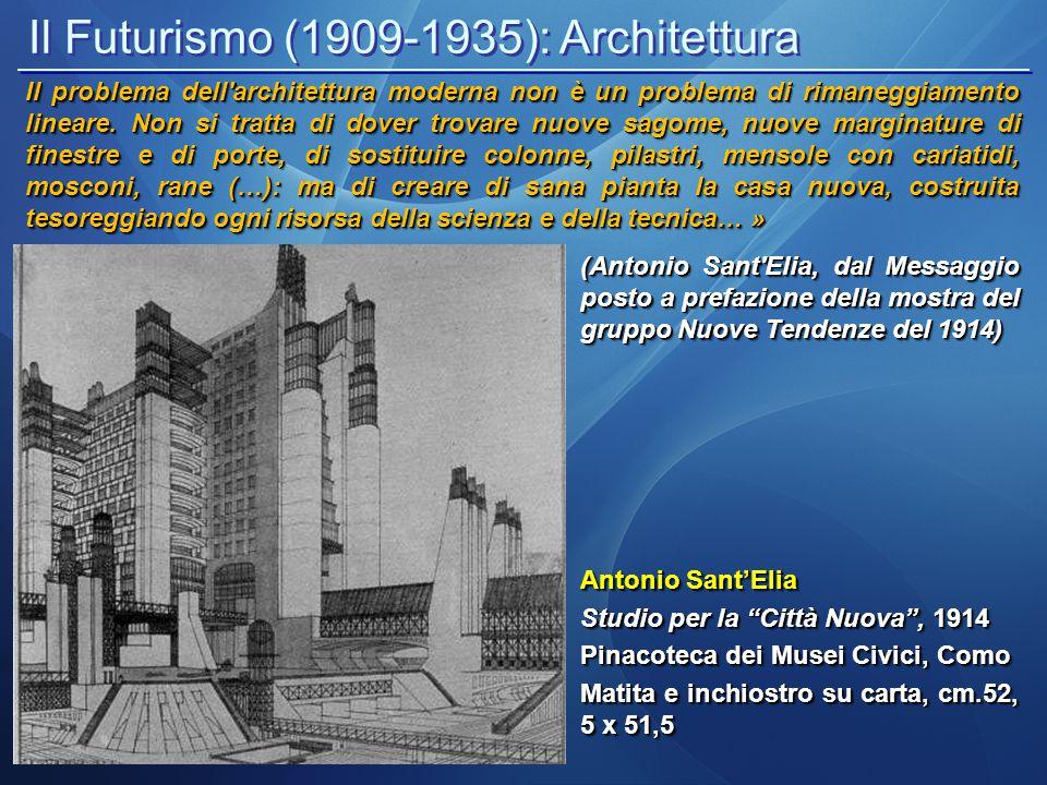 """Il Futurismo (1909-1935): Architettura Antonio Sant'Elia Studio per la """"Città Nuova"""", 1914 Pinacoteca dei Musei Civici, Como Matita e inchiostro su ca"""