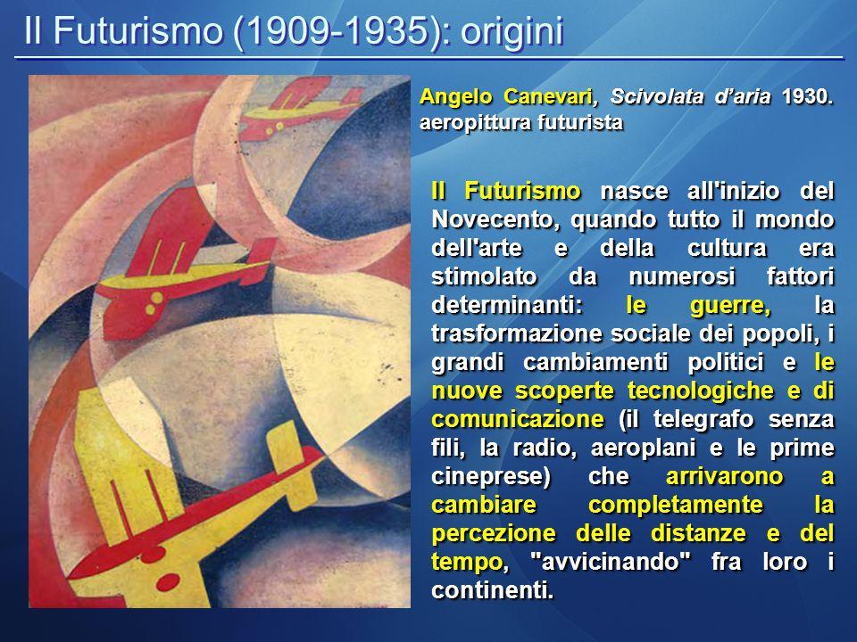 Il Futurismo (1909-1935): origini Angelo Canevari, Scivolata d'aria 1930. aeropittura futurista Il Futurismo nasce all'inizio del Novecento, quando tu