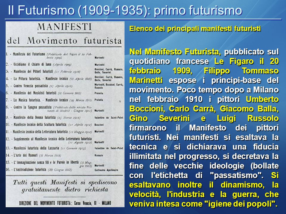 Il Futurismo (1909-1935): primo futurismo Elenco dei principali manifesti futuristi Nel Manifesto Futurista, pubblicato sul quotidiano francese Le Fig