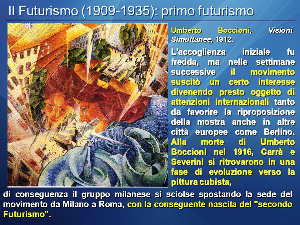 Il Futurismo (1909-1935): secondo futurismo Il secondo futurismo fu sostanzialmente diviso in due fasi; la prima andava dal 1918, due anni dopo la morte di Umberto Boccioni, al 1928 e fu caratterizzata da un forte legame con la cultura post-cubista e costruttivista, la seconda invece, dal 1929 al 1938, fu molto più legata alle idee del surrealismo.