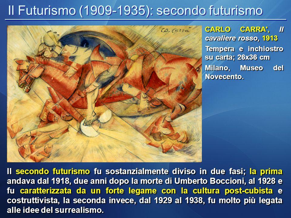 Il Futurismo (1909-1935): secondo futurismo Il secondo futurismo fu sostanzialmente diviso in due fasi; la prima andava dal 1918, due anni dopo la mor