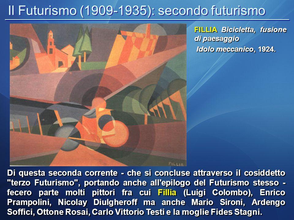 Il Futurismo (1909-1935): secondo futurismo Di questa seconda corrente - che si concluse attraverso il cosiddetto