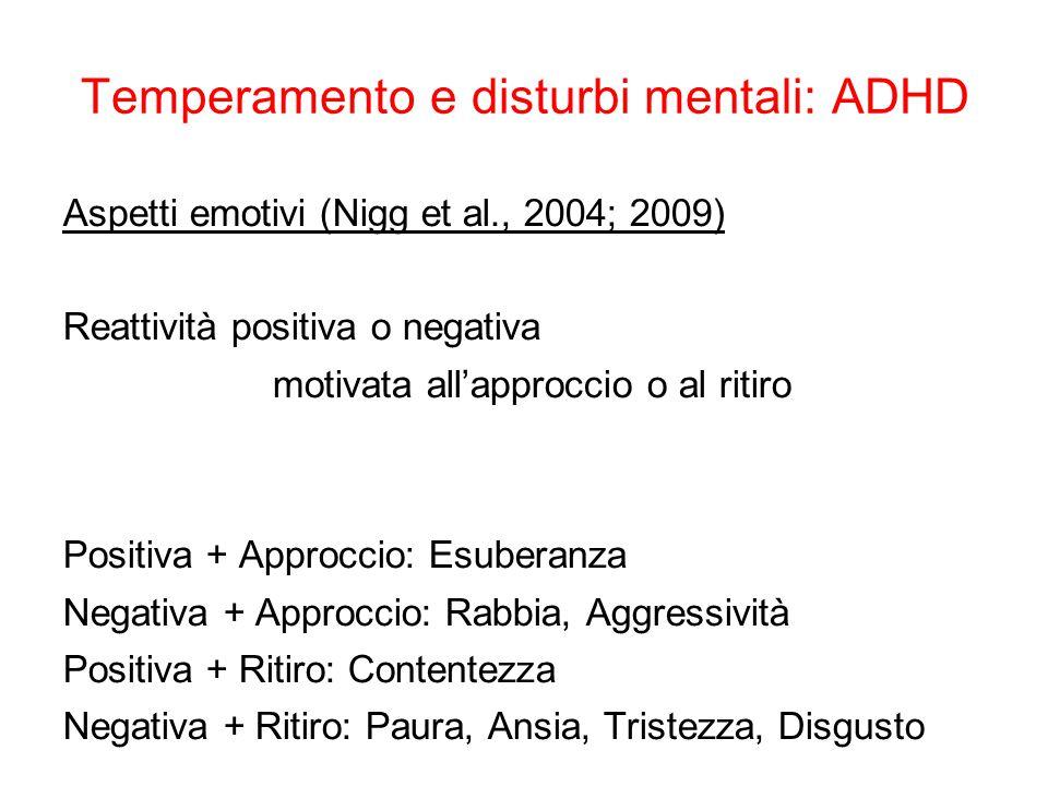 Temperamento e disturbi mentali: ADHD Aspetti emotivi (Nigg et al., 2004; 2009) Reattività positiva o negativa motivata all'approccio o al ritiro Posi