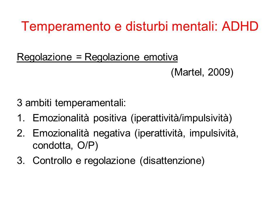 Temperamento e disturbi mentali: ADHD Regolazione = Regolazione emotiva (Martel, 2009) 3 ambiti temperamentali: 1.Emozionalità positiva (iperattività/