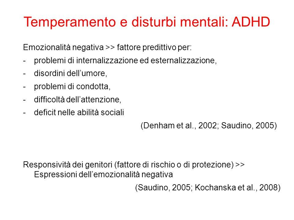 Temperamento e disturbi mentali: ADHD Emozionalità negativa >> fattore predittivo per: -problemi di internalizzazione ed esternalizzazione, -disordini