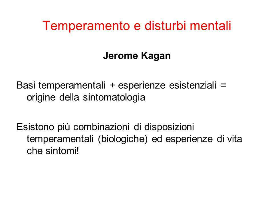Temperamento e disturbi mentali Jerome Kagan Basi temperamentali + esperienze esistenziali = origine della sintomatologia Esistono più combinazioni di