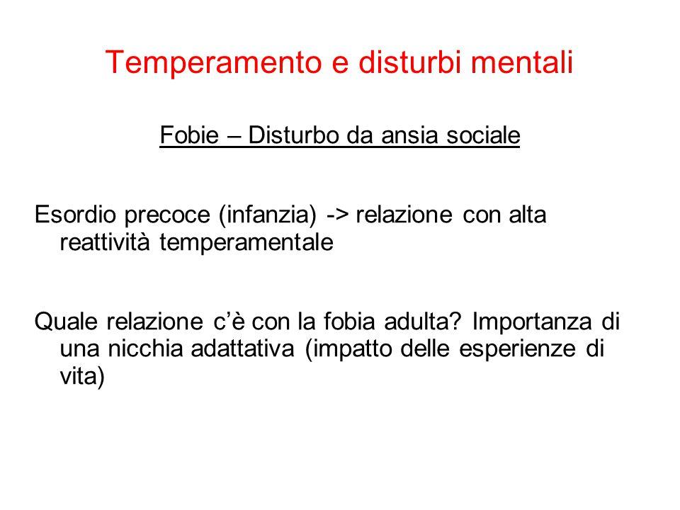Temperamento e disturbi mentali Fobie – Disturbo da ansia sociale Esordio precoce (infanzia) -> relazione con alta reattività temperamentale Quale rel
