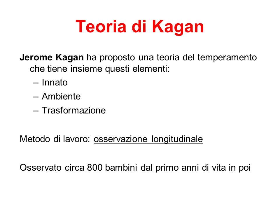 Teoria di Kagan Jerome Kagan ha proposto una teoria del temperamento che tiene insieme questi elementi: –Innato –Ambiente –Trasformazione Metodo di la