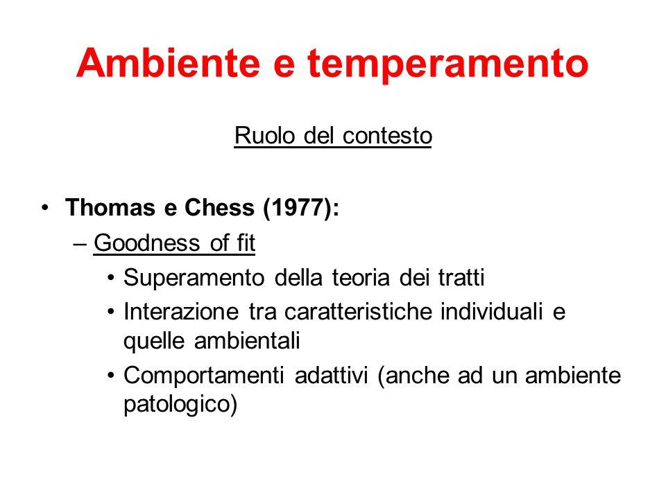 Ambiente e temperamento Ruolo del contesto Thomas e Chess (1977): –Goodness of fit Superamento della teoria dei tratti Interazione tra caratteristiche