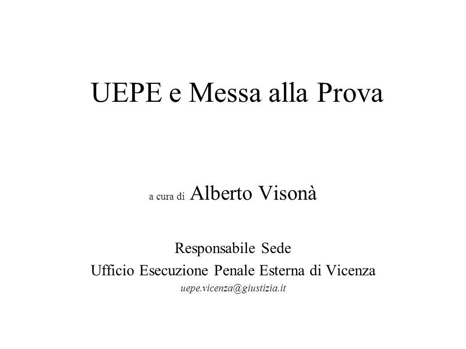 UEPE e Messa alla Prova a cura di Alberto Visonà Responsabile Sede Ufficio Esecuzione Penale Esterna di Vicenza uepe.vicenza@giustizia.it