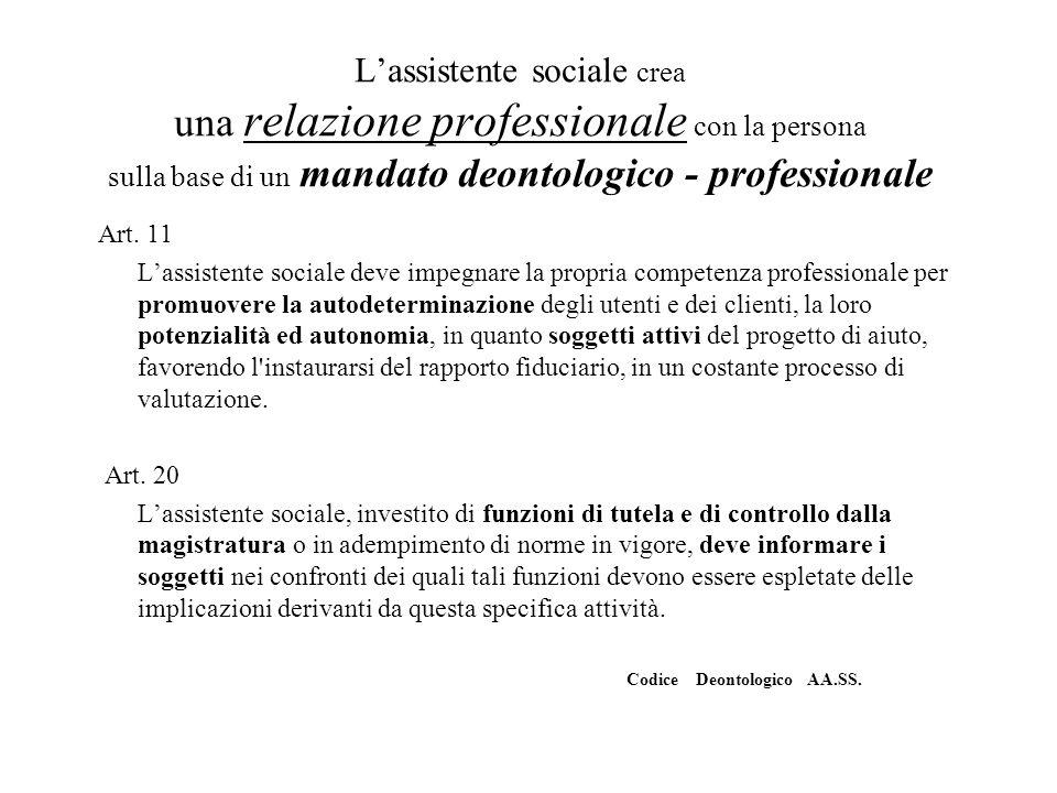 L'assistente sociale crea una relazione professionale con la persona sulla base di un mandato deontologico - professionale Art. 11 L'assistente social