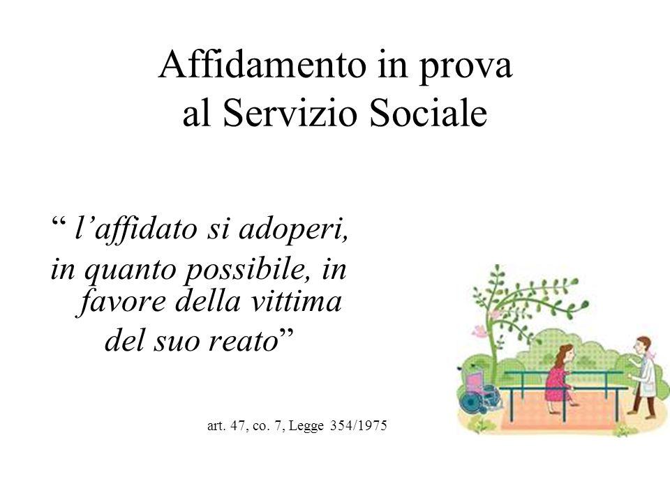 """Affidamento in prova al Servizio Sociale """" l'affidato si adoperi, in quanto possibile, in favore della vittima del suo reato"""" art. 47, co. 7, Legge 35"""