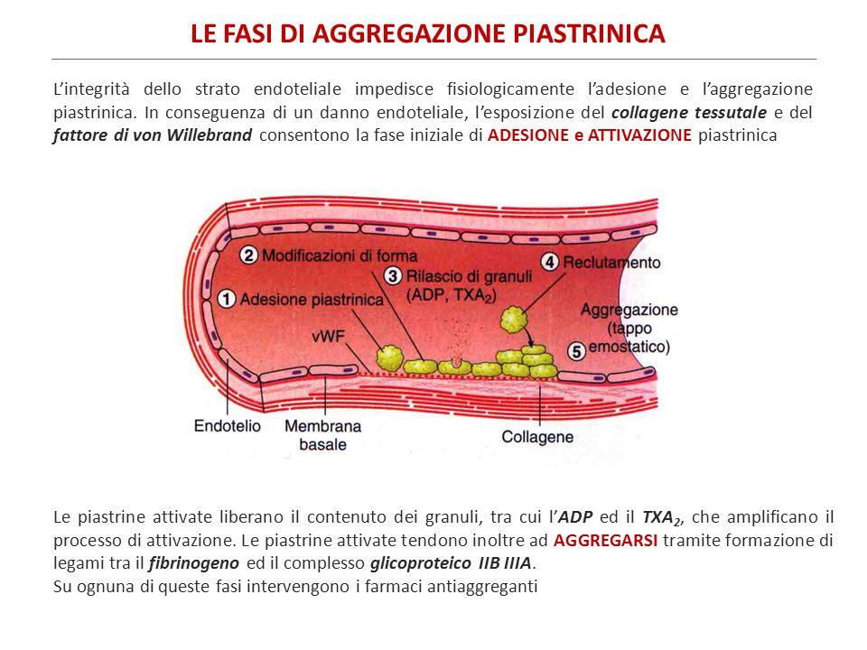 L'azione di questi farmaci si realizza attraverso due meccanismi principali: (1)INIBIZIONE DELL'ATTIVAZIONE PIASTRINICA [farmaci che interferiscono con il metabolismo dell'acido arachidonico; farmaci che interferiscono con la via ADP-dipendente dell'attivazione piastrinica; inibitori delle fosfodiesterasi (PDE); inibitori del recettore per la trombina]; (2) INIBIZIONE DELL'AGGREGAZIONE PIASTRINICA (inibitori della GP IIb/IIIa).